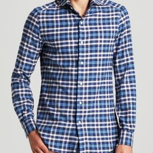 EIDOS Men Dress Shirt 17 1/2 44 White Blue Plaid